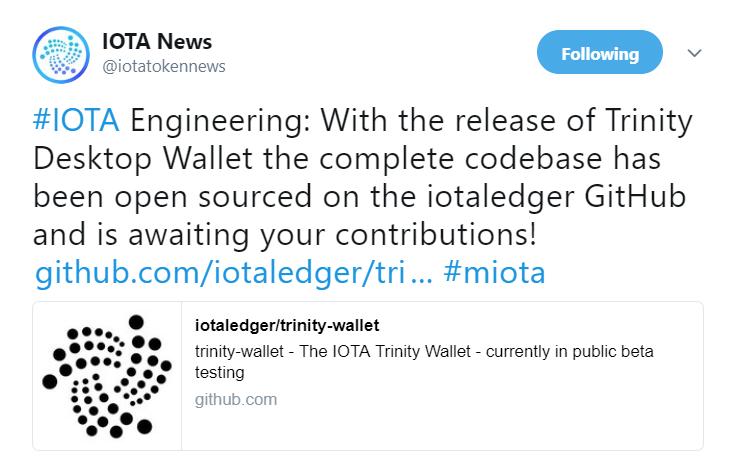 IOTA makes codebase public | Source: Twitter