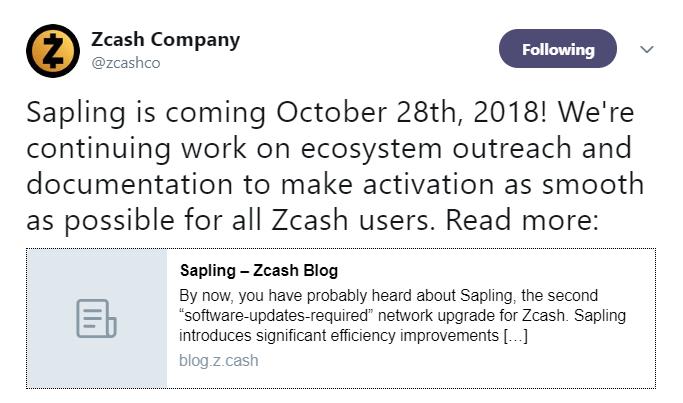 Zcash's tweet | Source: Twitter