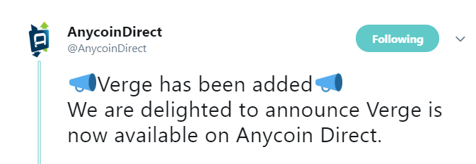 Tweet by Anycoin Direct | Source: Twitter