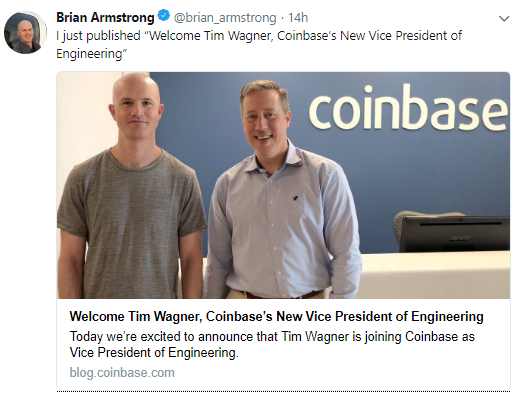 Coinbase welcomes Tim Wagner | Source: Twitter