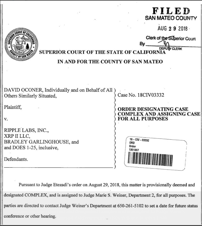 Order by Superior Court, California | Source: Twitter
