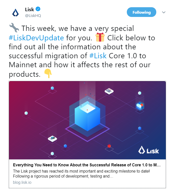 Lisk Dev update | Source: Twitter