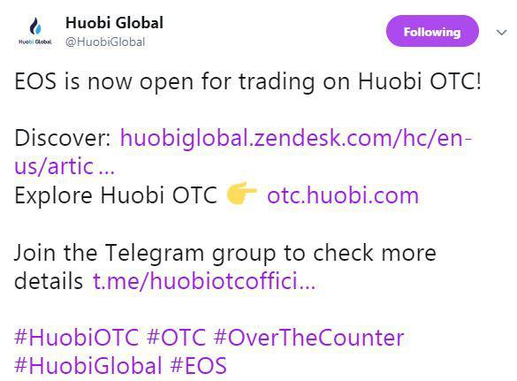 Huobi Global's tweet | Source: Twitter