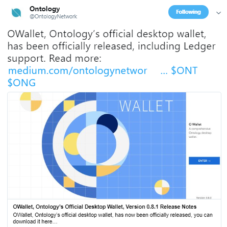 Ontology[ONT] released OWallet v0.8.1: Support for Windows and macOS