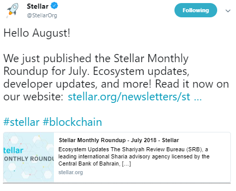 Stellar's tweet | Source: Twitter