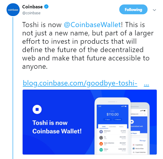 Coinbase's official Twitter announcement   Source: Twitter