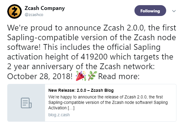 Zcash's official Twitter announcement | AMBCrypto