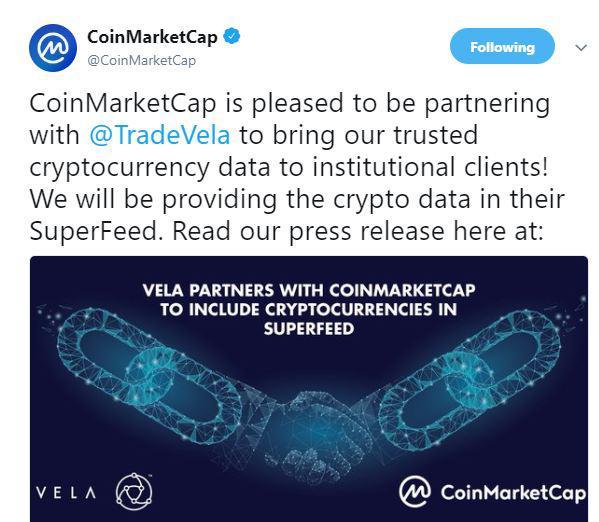 CoinMarketCap's partnership announcement | Source: Twitter