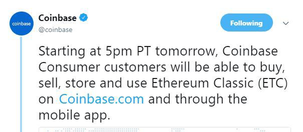 Coinbase's tweet | Source: Twitter