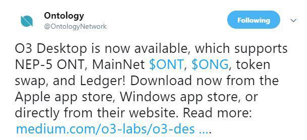 Ontology's tweet on O3 Desktop launch | Source: Twitter