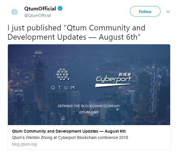 Qtum's tweet | Source: Twitter