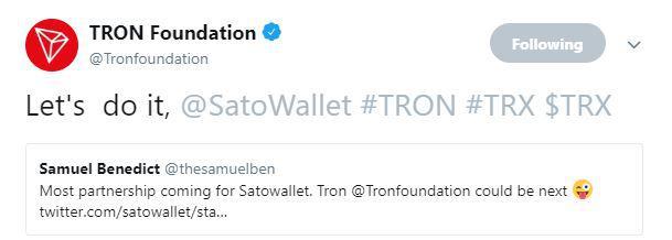 Tron Foundation's tweet | Source: Twitter