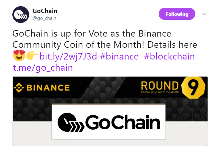 GoChain's official announcement   Source: Twitter