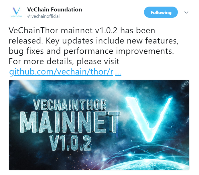 VechainThor Development updates | Source: Twitter