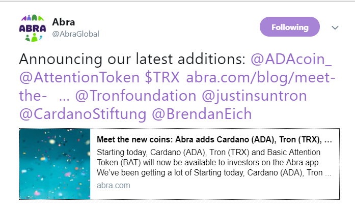 Abra lists TRX, ADA and BAT | Source: Twitter
