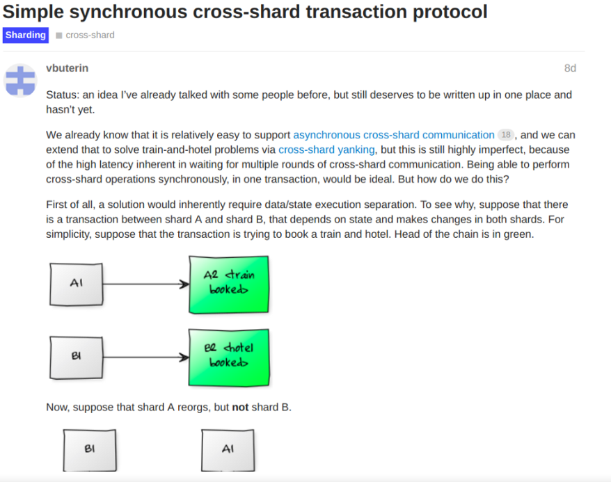 Buterin: Simple synchronous cross-shard transaction protocol | Source: Ethereum official research page