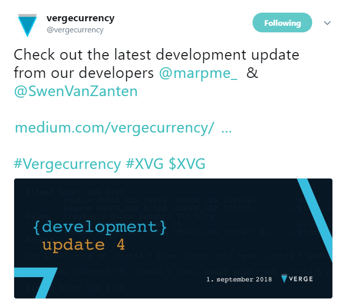 Vergecurrency Development Update | Source: Twitter