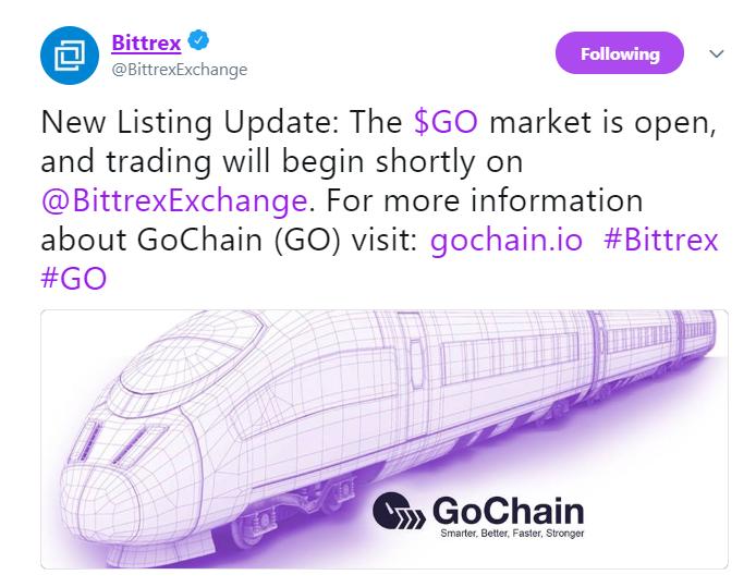 Bittrex lists GoChain   Source: Twitter