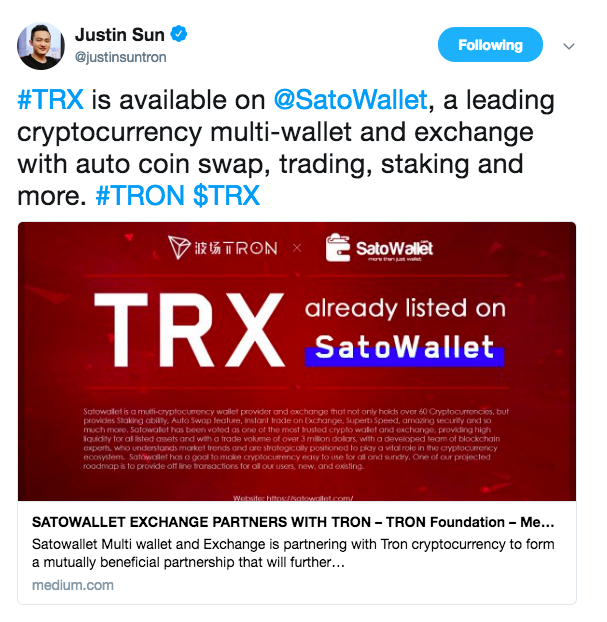 Tron listed on SatoWallet | Source: Twitter