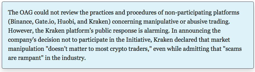 Statement regarding Kraken | Source: NY AG Report