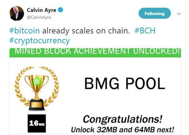 Calvin Ayre's tweet | Source: Twitter