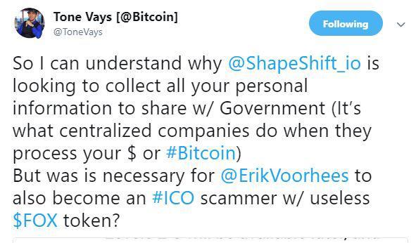 Tweet by Tone Vays | Source: Twitter