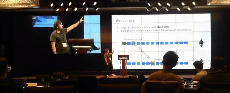 Dionysis Zindros presenting on Sidechains | Source: Youtube