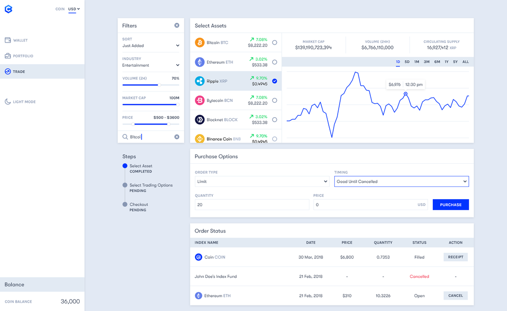 Coinvest - A refreshingly simple and clean UI to trade hundreds of tokens and indexes