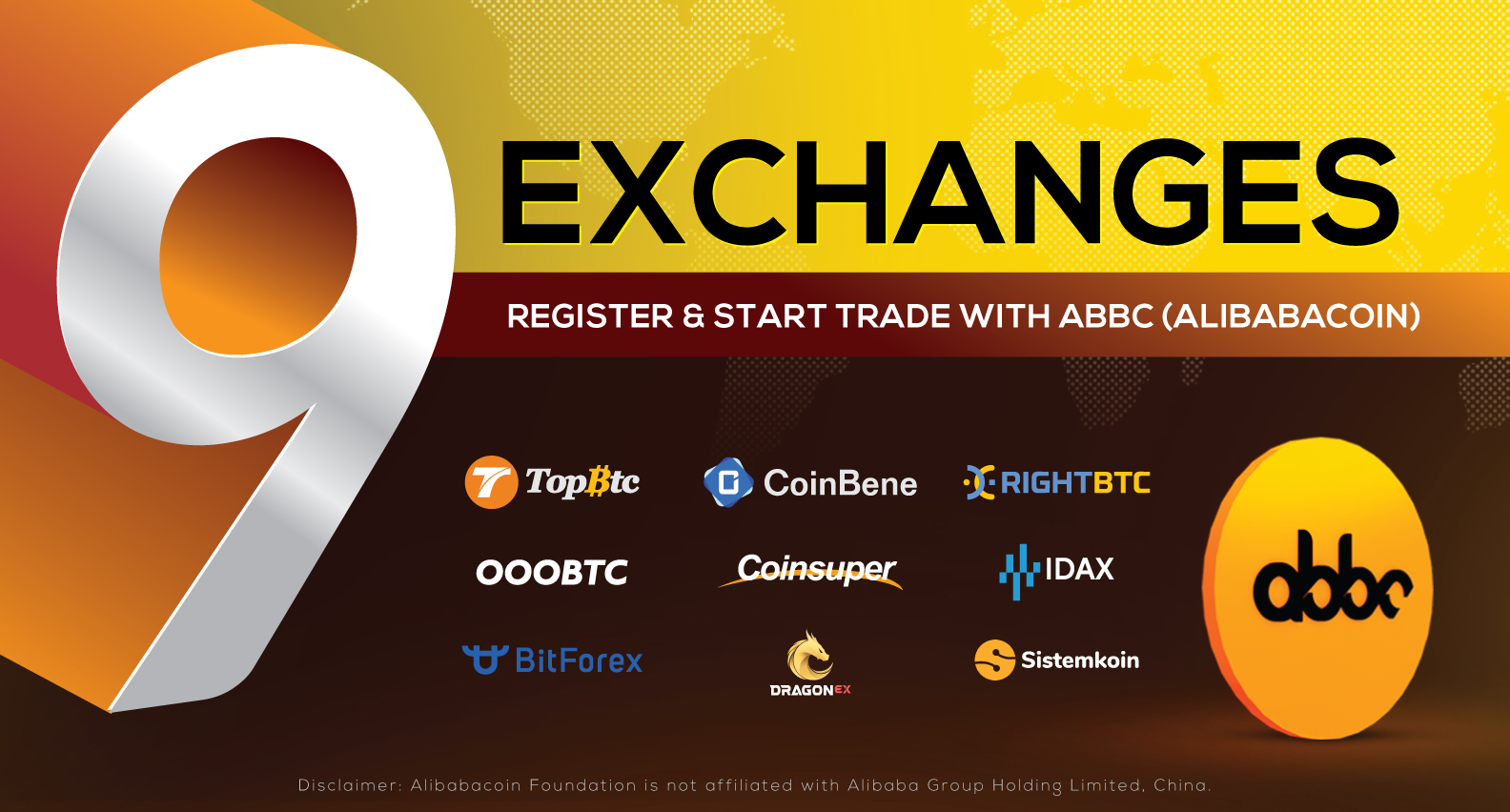 Alibabacoin listing launch on 9 exchanges successful, trading begins