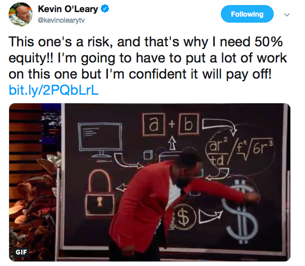 Kevin's post about his investment   Source: Twitter