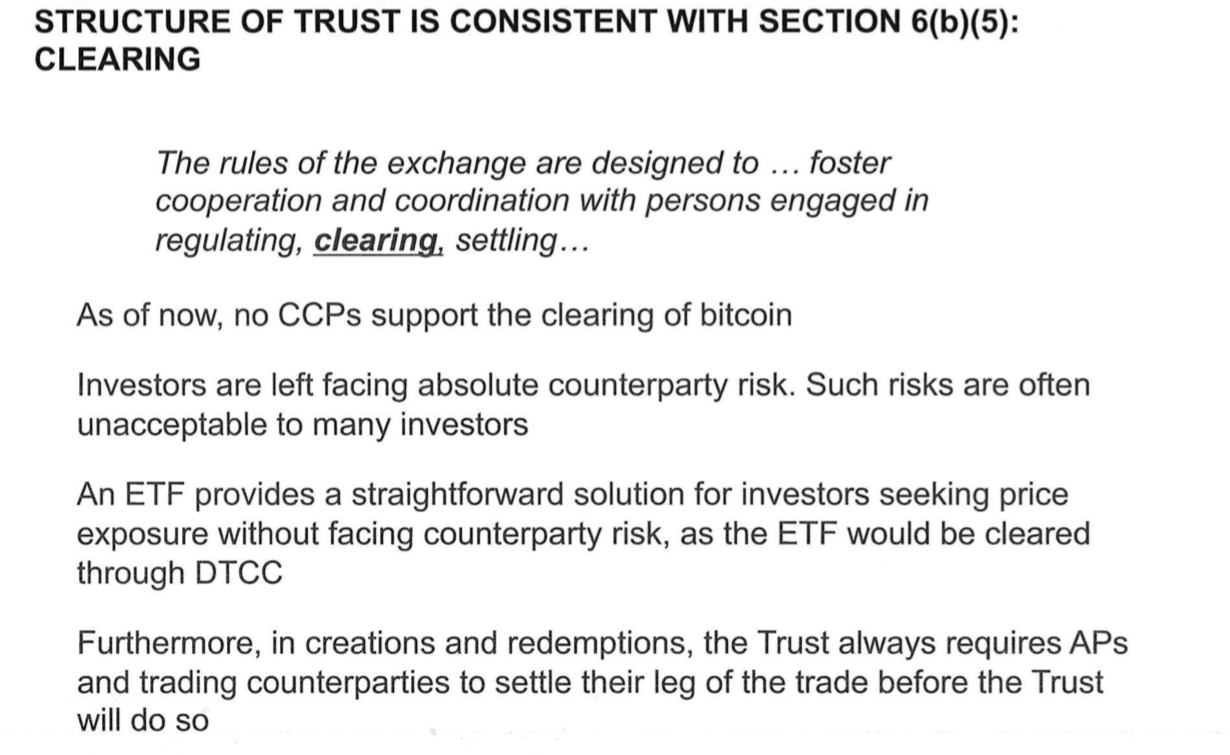 Structure of Trust is consistent with Section 6[b][5]: clearing | Source: SEC