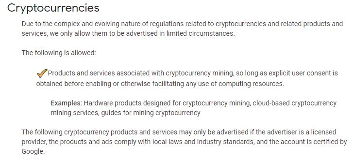Google's updated crypto-policy   Source: support.google