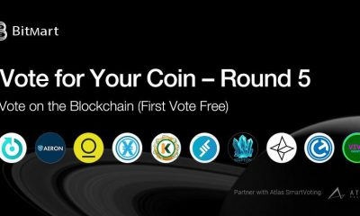 "BitMart ""Vote for Your Coin - Round 5"" Vote on the Blockchain with Your First Vote Free!"