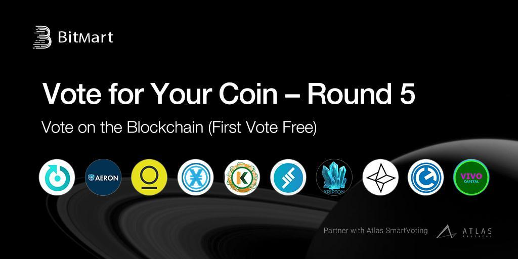"BitMart ""Vote for Your Coin – Round 5"" Vote on the Blockchain with Your First Vote Free!"
