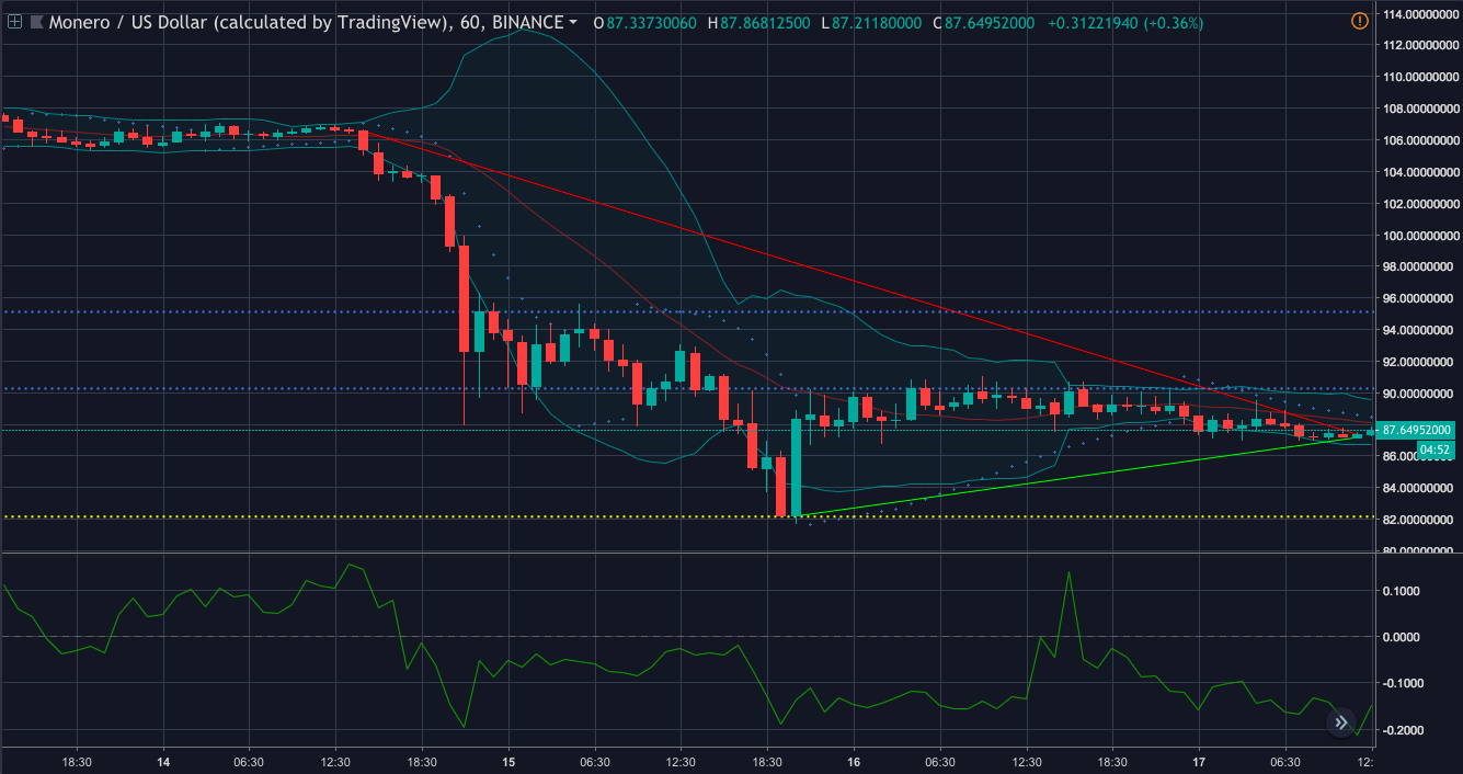Monero [XMR/USD] one-hour price chart | Source: Trading View