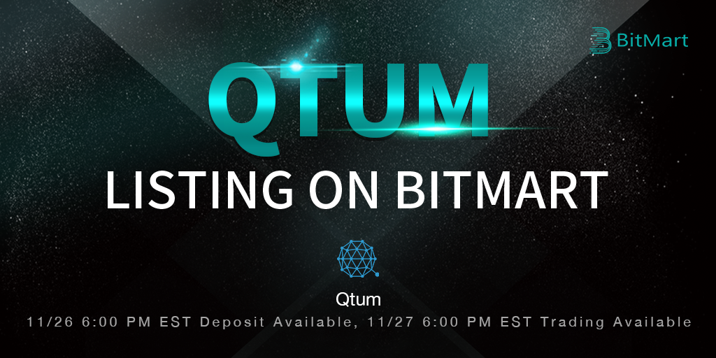 BitMart lists Qtum, the first Proof-of-Stake smart contracts platform