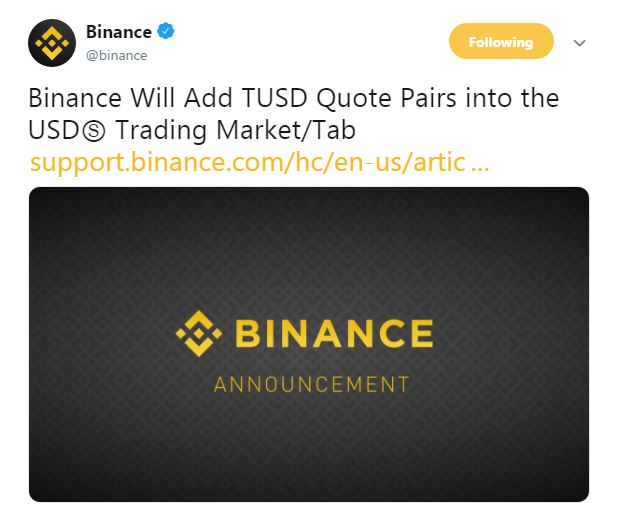 Binance's tweet | Source: Twitter