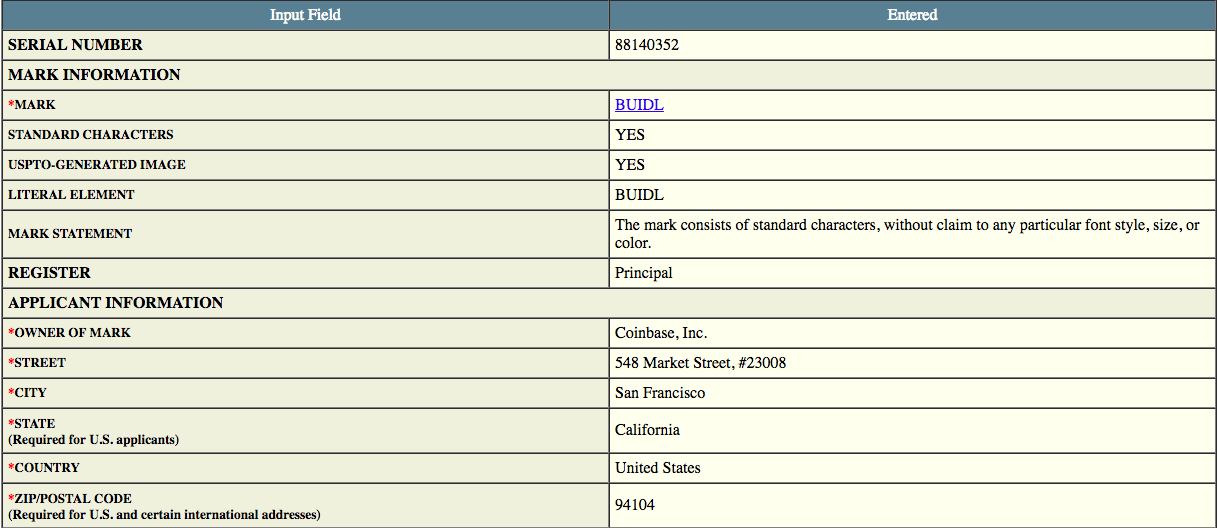 Coinbase filing with the USPTO | Source: USPTO