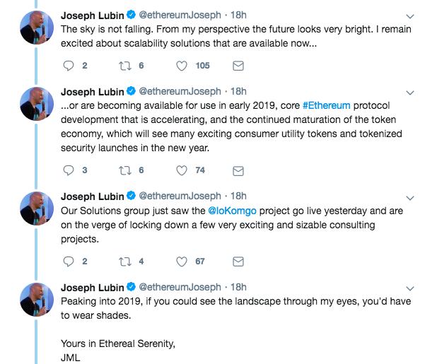 Joseph Lubin's statement on ConsenSys 2.0 | Source: Twitter