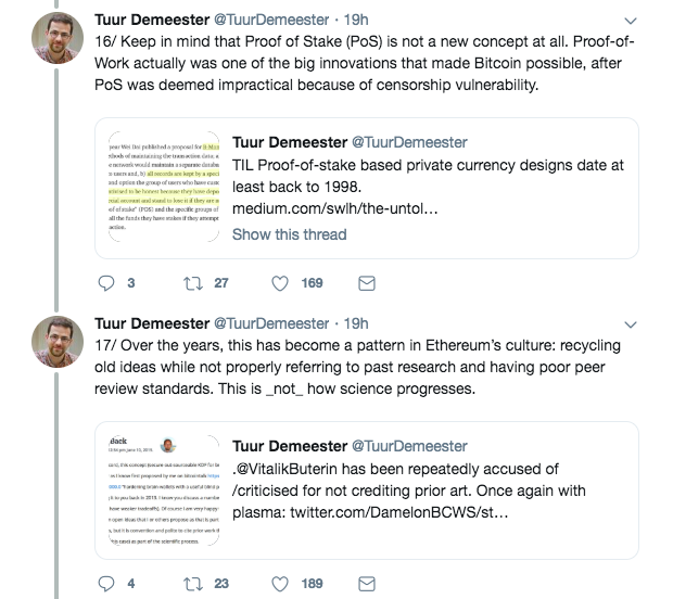 Tuur Demeester's remarks on Ethereum's Proof-of-Stake| Source: Twitter