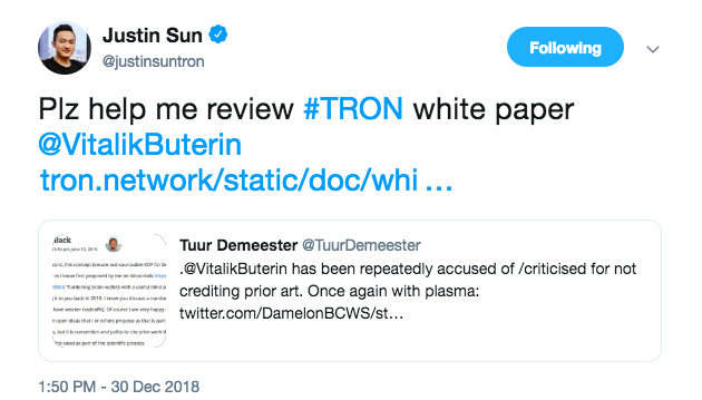 Justin Sun asks for help from Buterin in the review of Tron's white paper. Source: Twitter