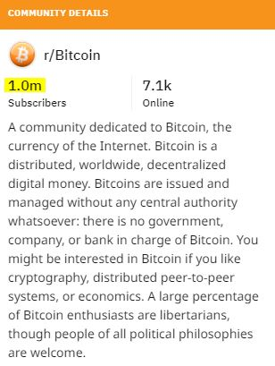 r/Bitcoin at 1 million subscribers   Source: Reddit