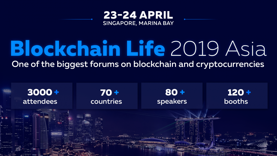 Binance and Huobi speak at Blockchain Life 2019 in Singapore on 23th-24th April